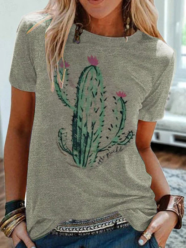 Casual Style Cactus Printed T-Shirt