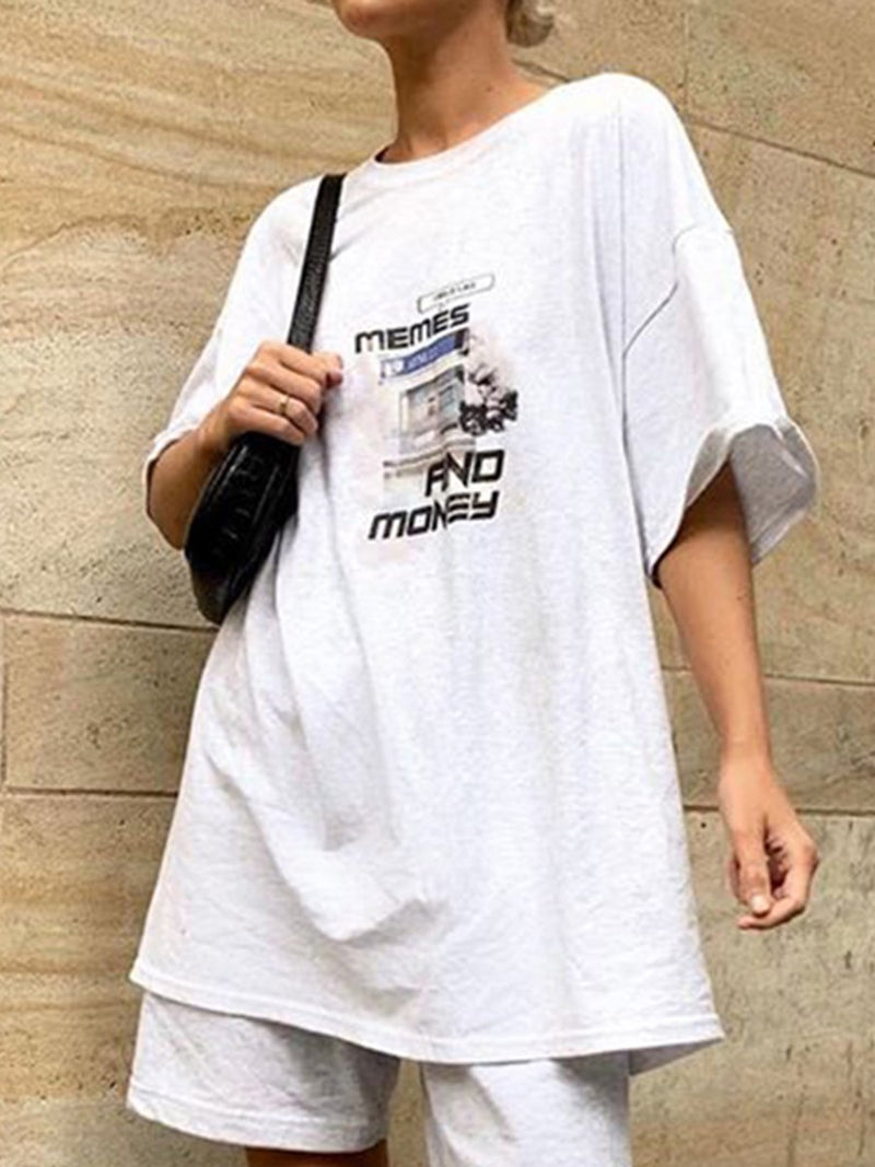 Loose Casual Letter Printed T-shirt