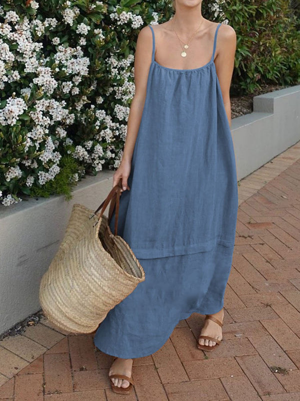 Casual and Comfortable Solid Color Dress