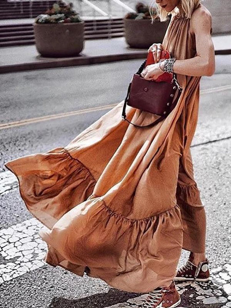 Bohemian Solid Color Sexy Casual Dress