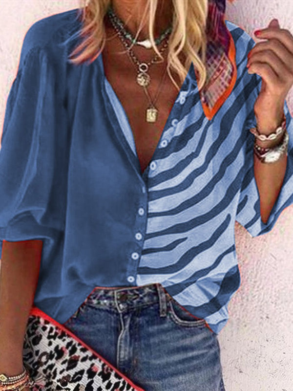 Fashionable Casual Loose Color Matching Lapel Top
