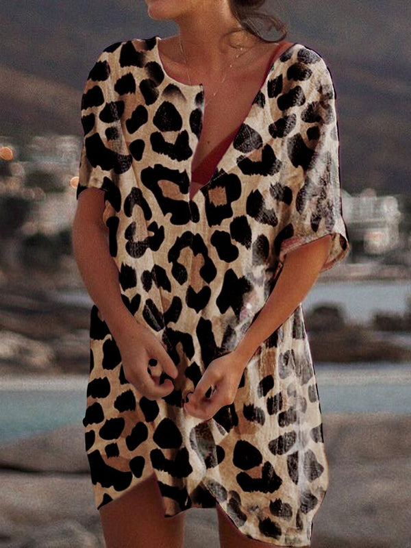 Casual Leopard Print Short Sleeve Dress