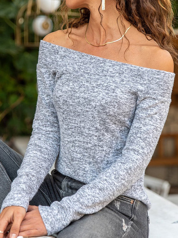Wool Blend Off Shoulder Sweater Casual Tops