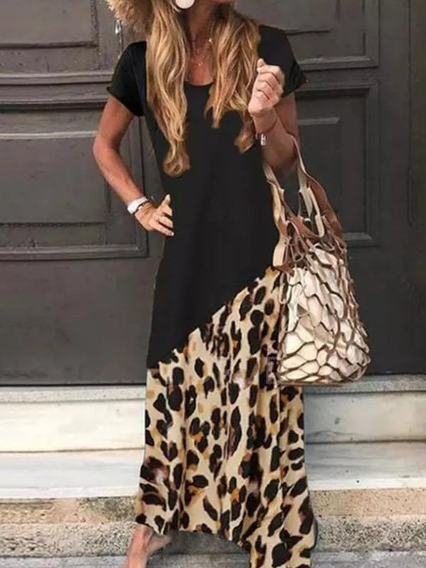 Leopard Short Sleeve Round Neck Casual Dress