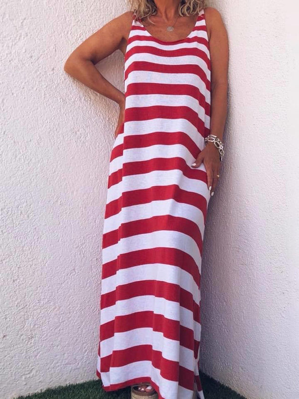 Simple Casual Loose Striped Dress