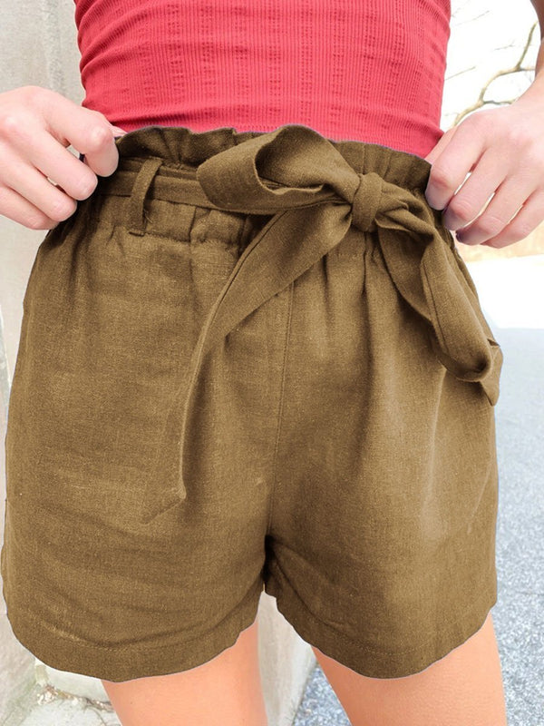 Casual Cotton and Linen Wide Shorts