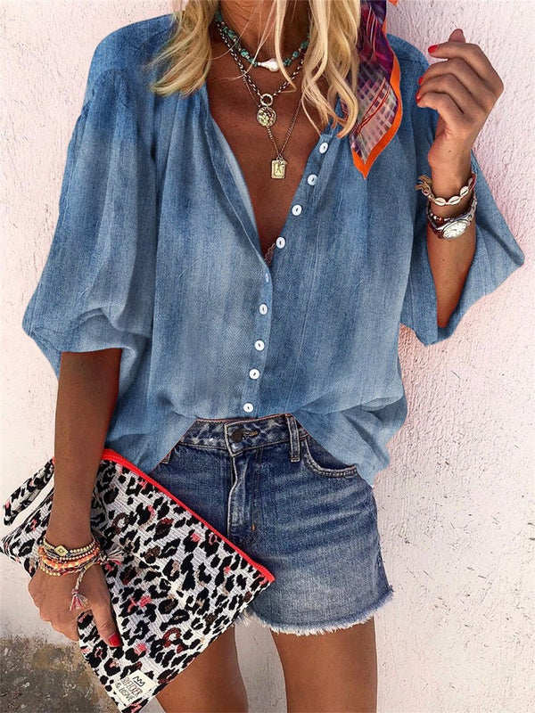 Blue Loose Casual Shirt Top