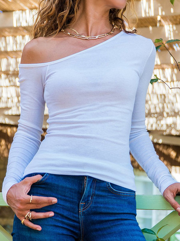 Pure Color Sexy Exposed One-Shoulder Slim T-Shirts
