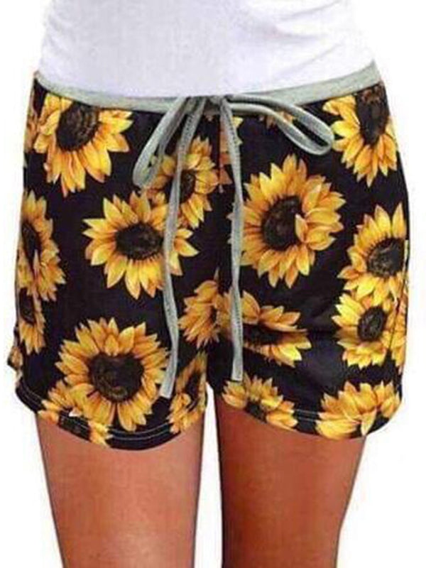 Beach Shorts with Sunflower Print Elasticated Shorts