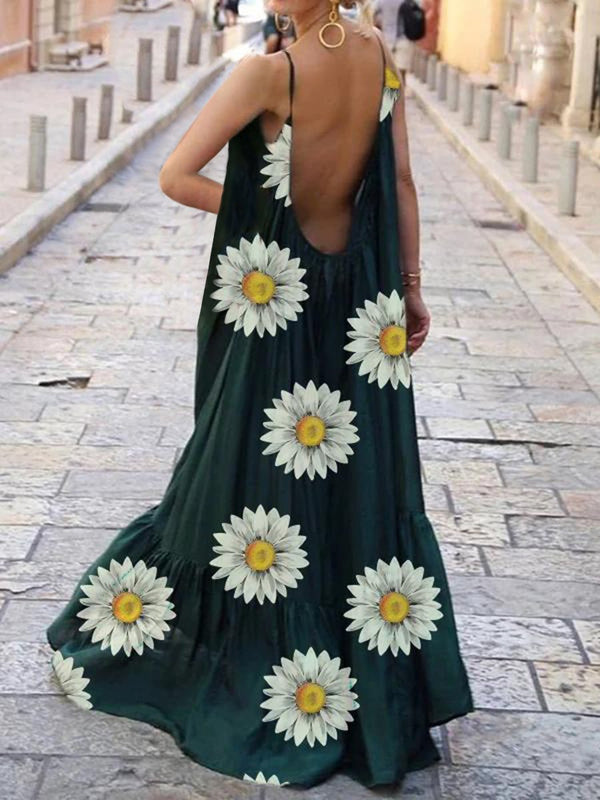 Bohemian Daisy Print Casual Fashion Dress