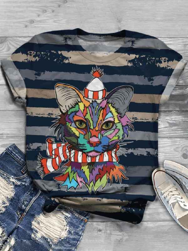 Casual Wild Impression Cat Printed Short-sleeved T-shirt