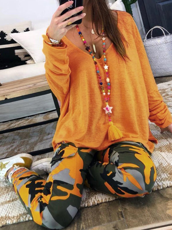 Long-Sleeved Casual V-Neck Tops Camouflage Trousers Two-Piece Suit