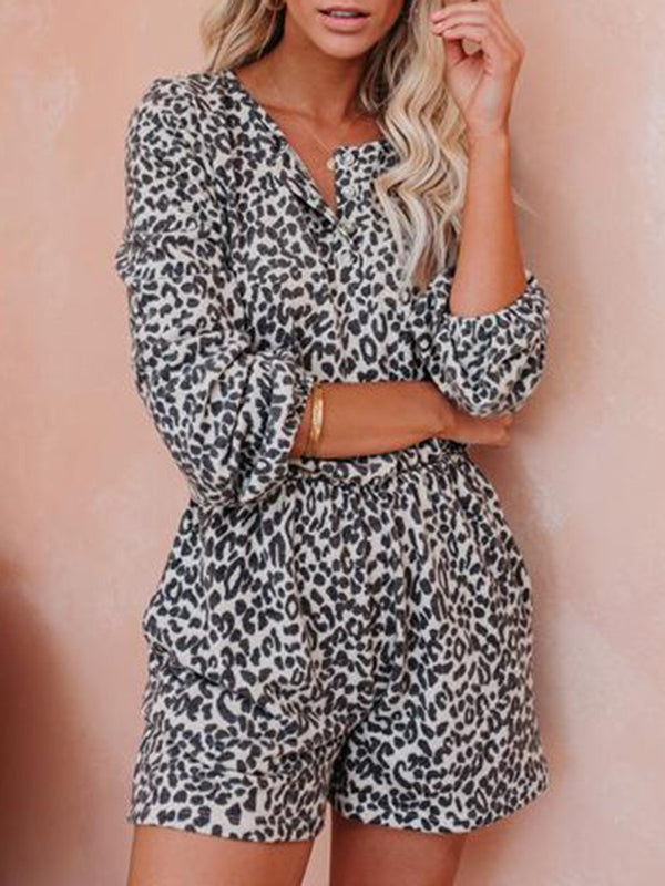 Casual Leopard Long Sleeve V-Neck Top Shorts Two-Piece Suit