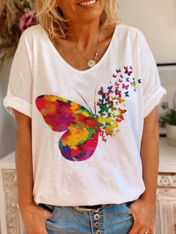 Casual Loose V-Neck Butterfly T-Shirt Top
