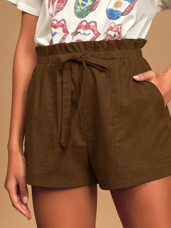 Casual Cotton and Linen Lace-up Shorts