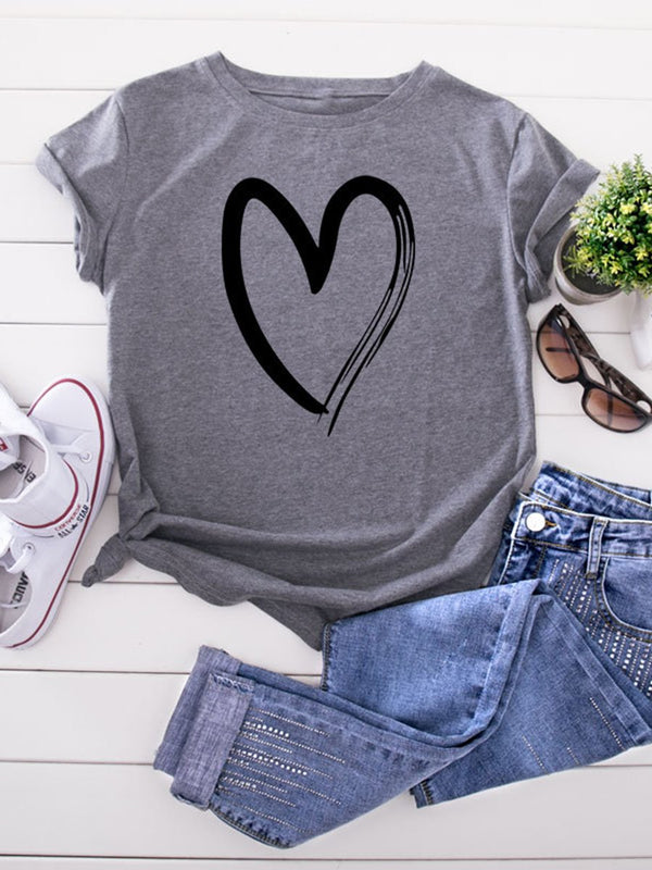 Cotton Love Print Round Neck Short Sleeve Casual T-Shirt