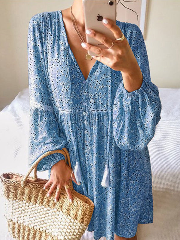 Casual Long Sleeve V-neck Floral Dress