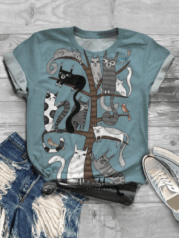 Casual Impression Multiple Cat Print Fashion T-shirt