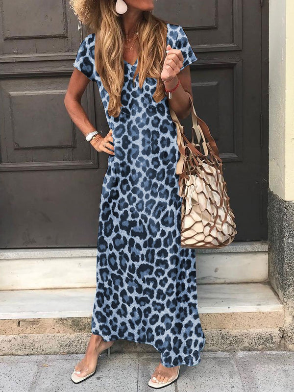Leisure Holiday Round Neck Leopard Dress