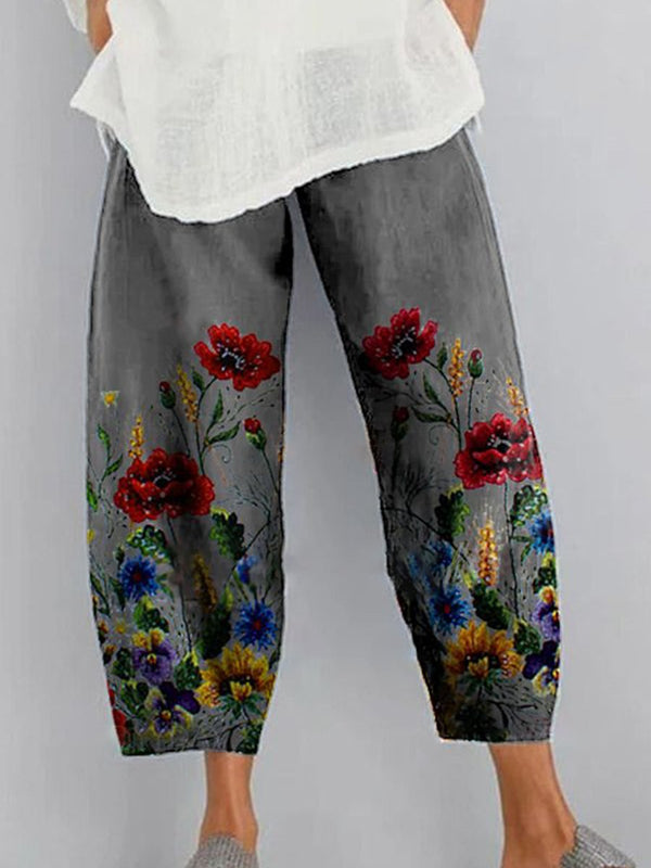 Floral Print Cotton and Linen Casual Loose Pants