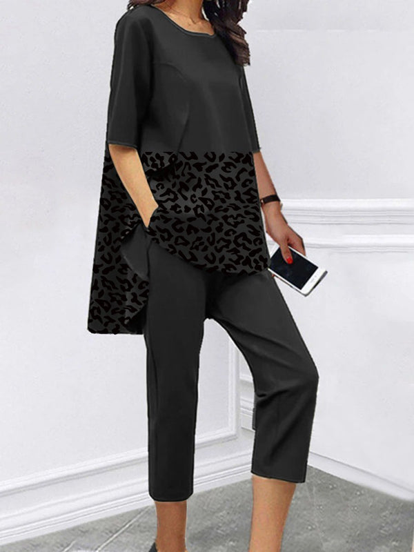 Loose Short Sleeve Casual Leopard Print Two-piece Suit