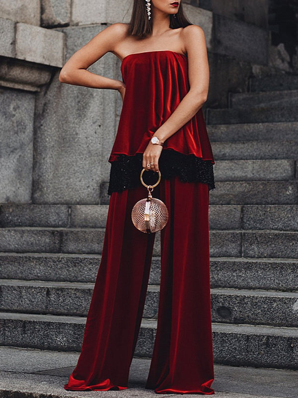 Casual Loose Ruffled Tube Top Two-piece Suit
