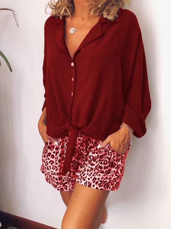 Casual Loose V-Neck Shirt Leopard Print Shorts Suit
