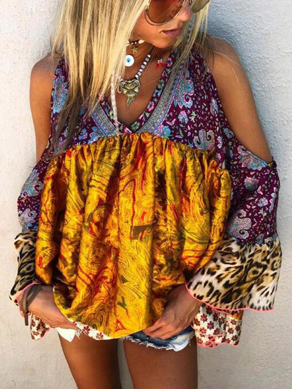 Stylish Casual Bohemian Printed V-neck Top