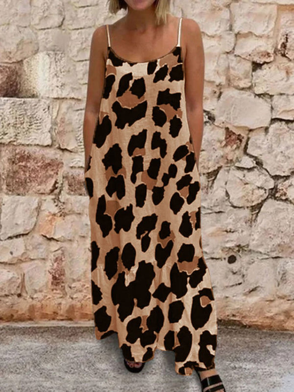 Camouflage Printing Sling Loose Casual Long Dress