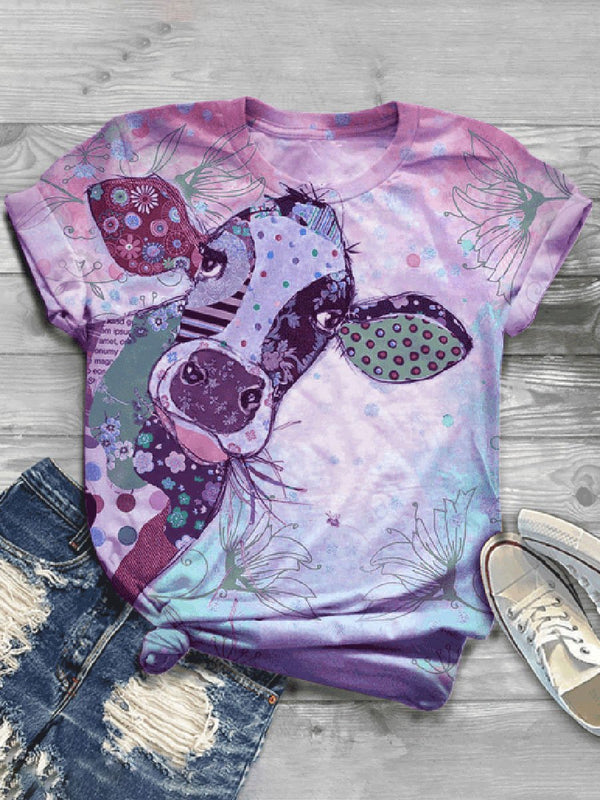 Casual Wild Impression Printed Short-sleeved T-shirt