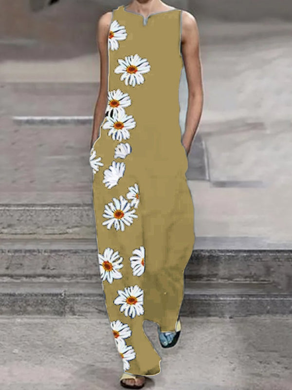 Fashionable Loose Casual Daisy Printed Jumpsuit