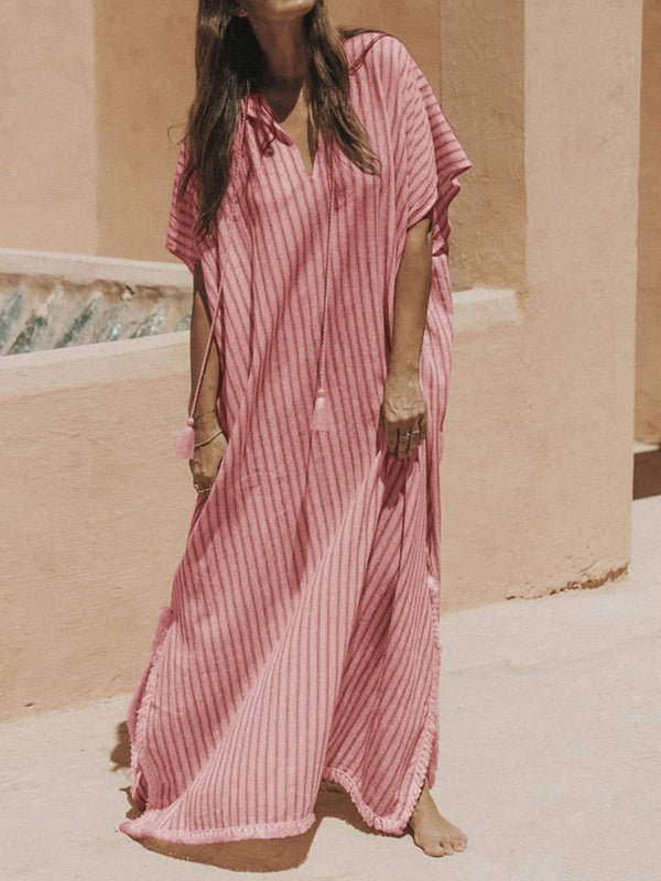 Retro Casual Loose V Neck Maxi Dress