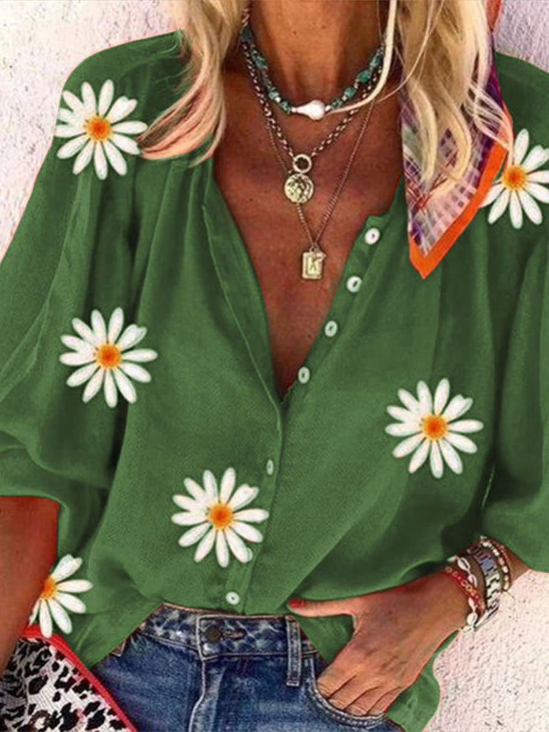 Stylish Casual Loose Floral Print Lapel Top