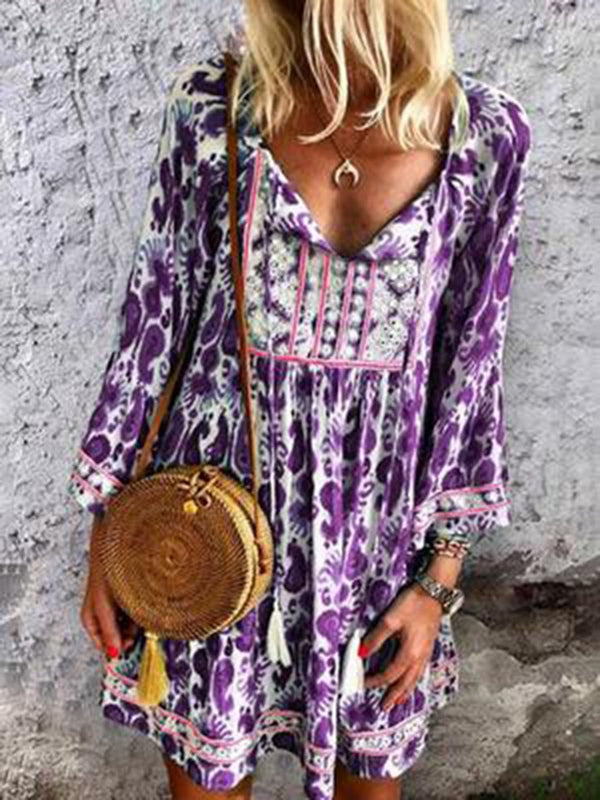 Cotton and Linen Printed Dress