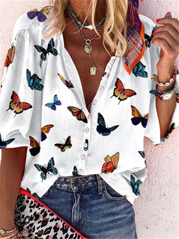 Butterfly Pattern Half Sleeve V Neck Shirt