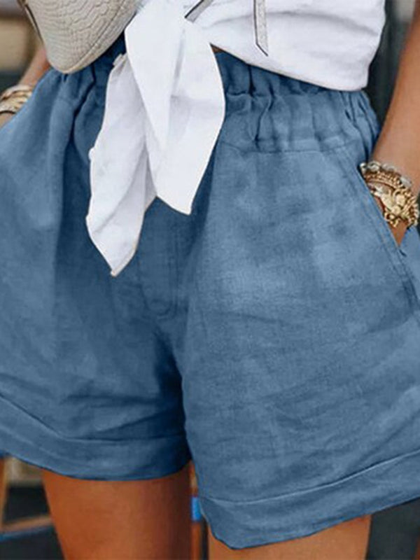 Casual Cotton and Linen Loose Shorts