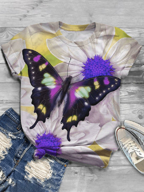 Casual Wild Impression Butterfly Printed Short-sleeved T-shirt