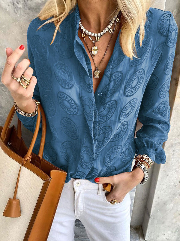 Bohemian Printed Lapel Long Sleeve Casual Shirt