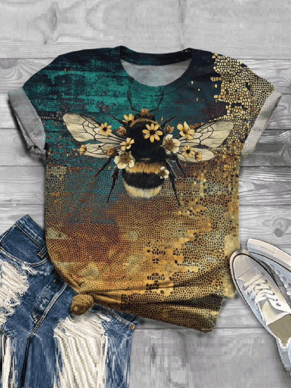 Casual Impression Bee Printed Fashion T-shirt