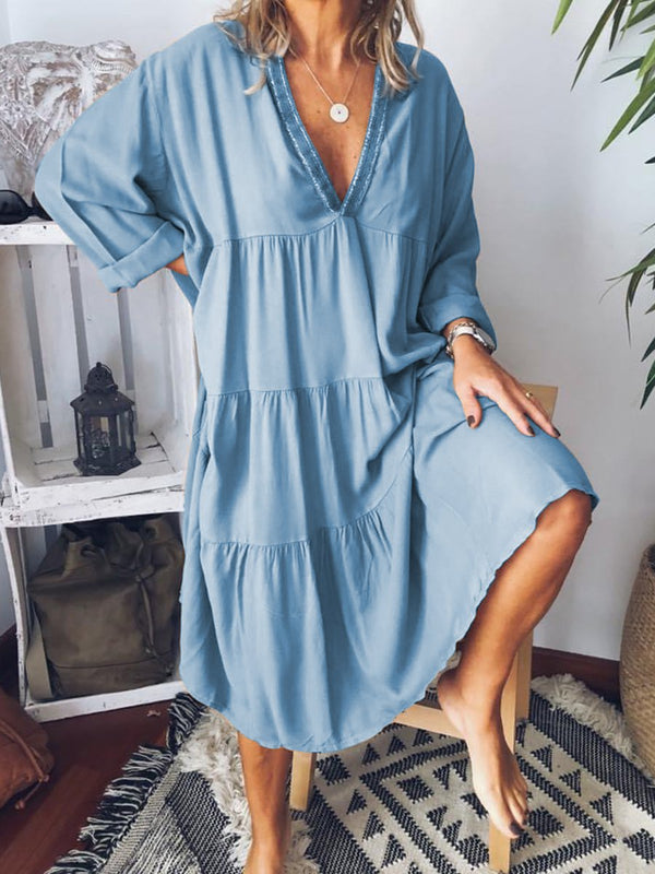 Simple Casual Loose V Neck Dress