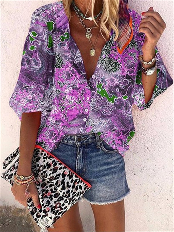 Vintage Bohemian Loose Casual Short Sleeve Shirt Top