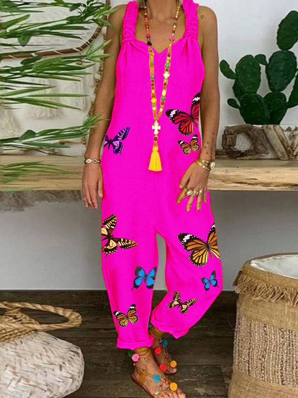 Romantic Rural Butterfly Loose Casual Jumpsuit