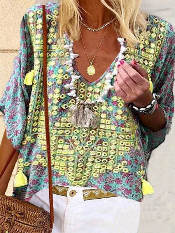 Bohemian Loose Casual V-Neck Top