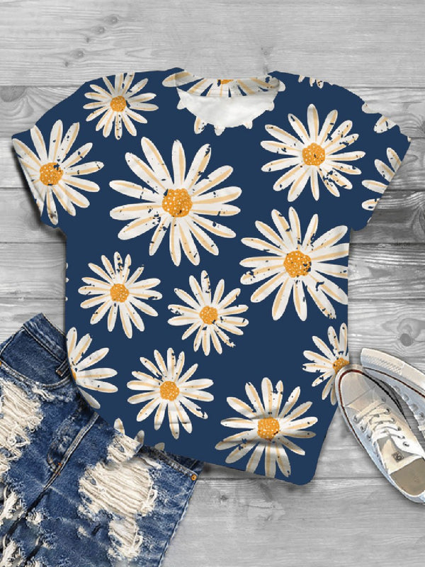 Casual Wild Impression Small Daisy Printed Short-sleeved T-shirt