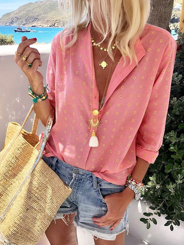 Stylish Lapel Bohemian Dot Print Shirt