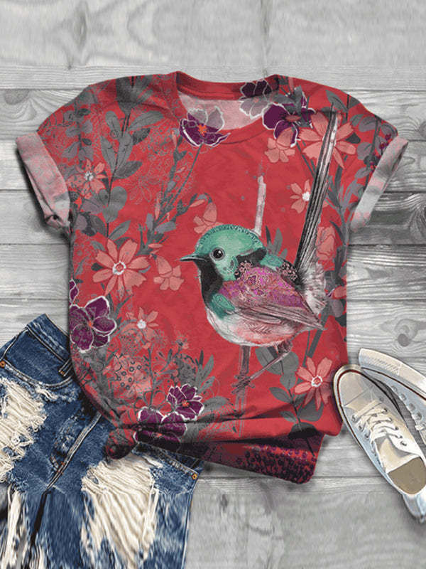 Casual Impression Bird Print Fashion T-shirt