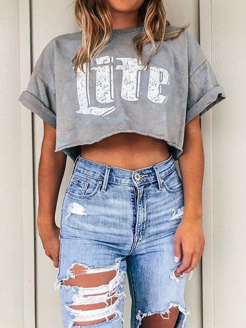 Casual Loose Letter Short Sleeve T-Shirt
