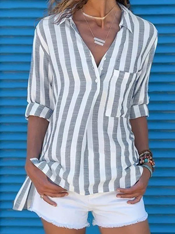 Casual Striped Button Long Sleeve Casual Shirt