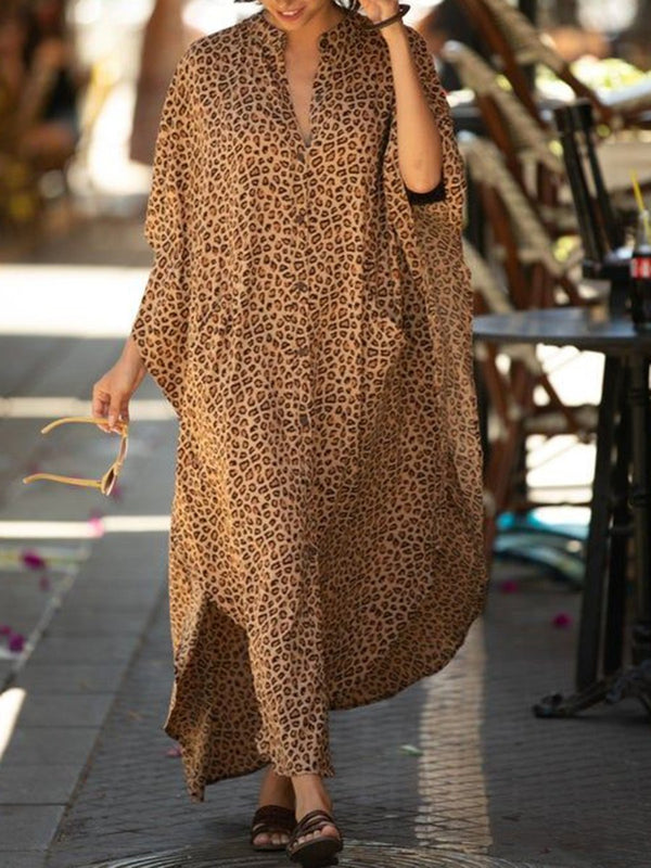 Fashionable Casual Loose Leopard V-neck Dress