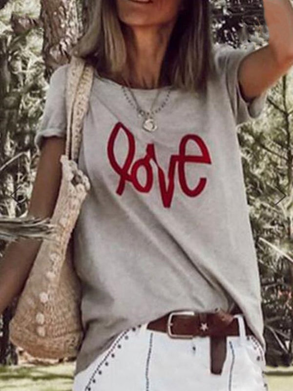 Letter Print Casual Loose T-shirt